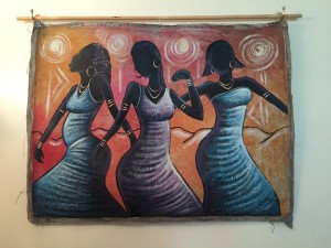 Caribbean art Haitian painting three young women dancing