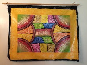 Caribbean art Haitian painting colourful pattern with traditional depictions surrounded by sunshine yellow
