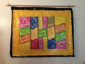 Caribbean art Haitian painting colourful bold lines with gold symbols