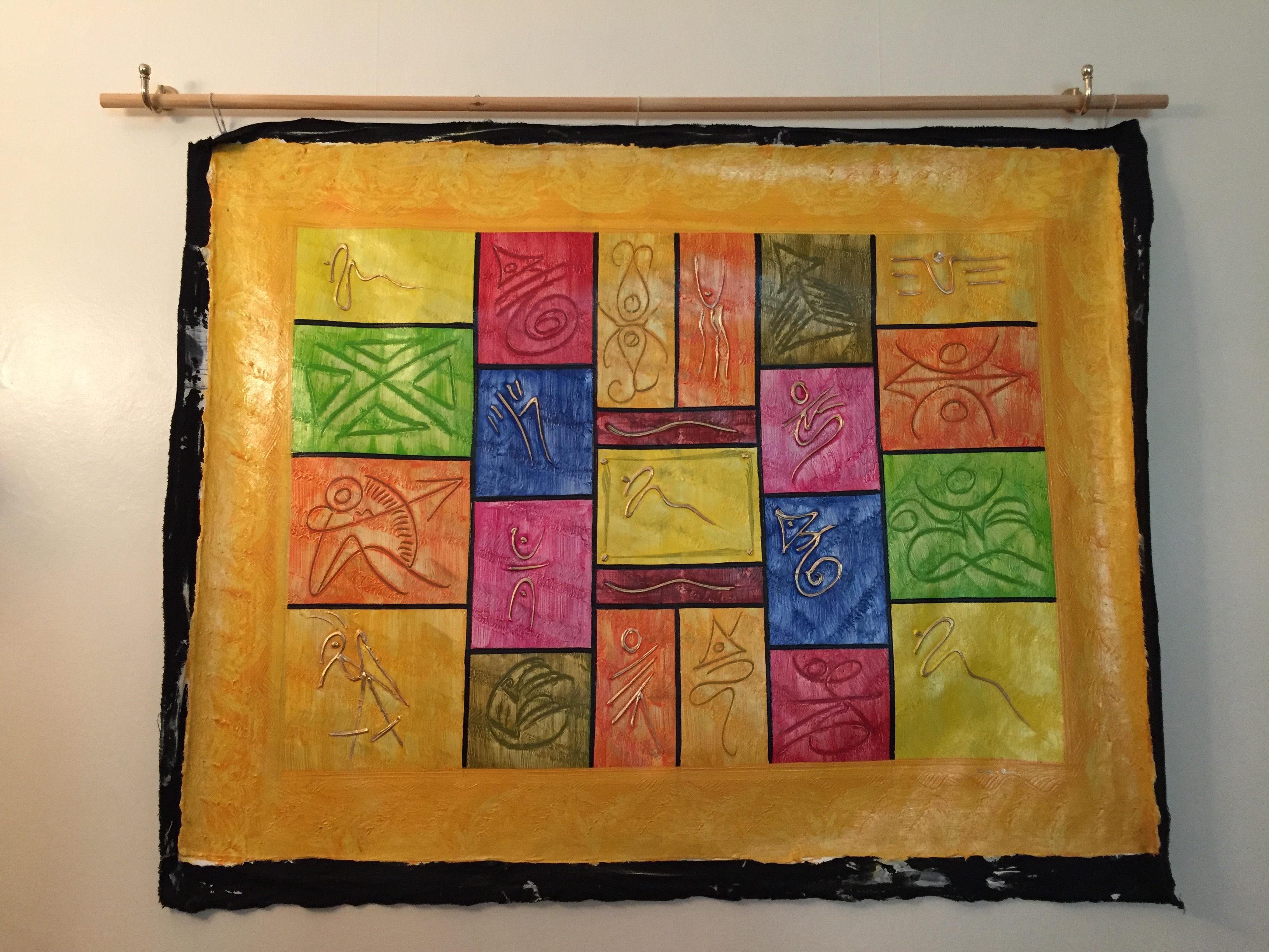 Caribbean art Haitian painting bold colours and shapes surrounded by sunshine yellow