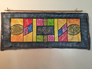 Caribbean art Haitian painting panel with strong geometric pattern in primary colours