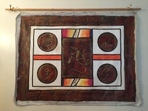 Caribbean art Haitian painting strong geometric design with traditional symbols