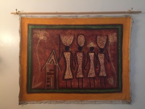 Caribbean art Haitian painting reflecting African history with four figures